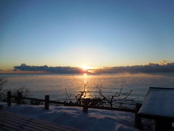 海の別邸ふる川から見える今日の朝日~平成28年1月17日