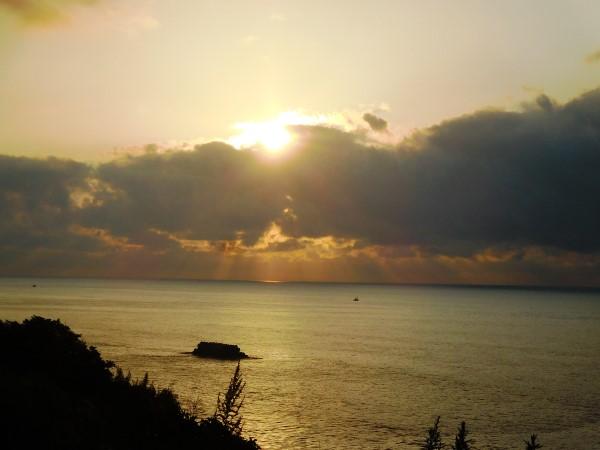 海の別邸ふる川から見える今日の朝日~平成28年8月13日